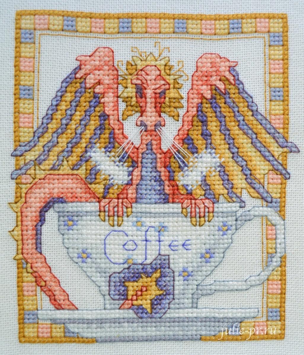 Вышивка крестом, Тереза Венцлер, Teresa Wentzler - Tempest in a teacup, Буря в чайной чашке, дракон, кофе