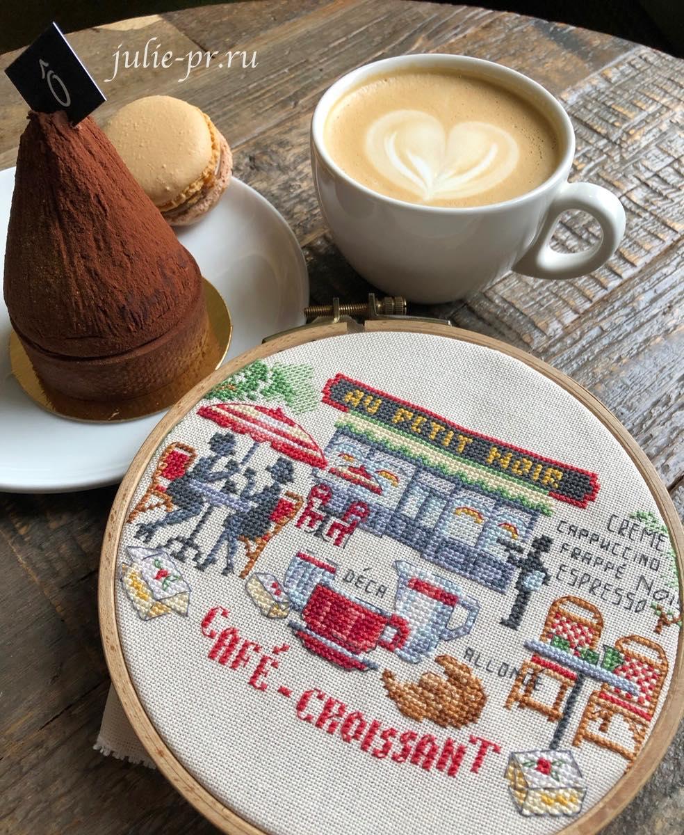 Парижское кафе, вышивка крестом, Veronique Enginger, Creation point de croix, Agenda 2019, Paris au fil des rues