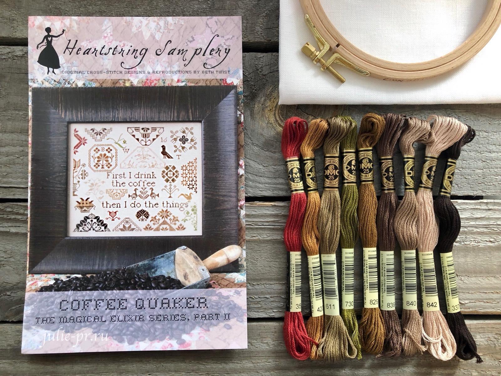 Вышивка крестом, Coffee quaker... the Magical Elixir Series N2, Кофейный квакер,Heartstring Samplery, кофе
