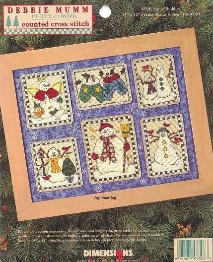Dimensions 8506 Snow Buddies, вышивка крестом, снеговик, Debbie Mumm