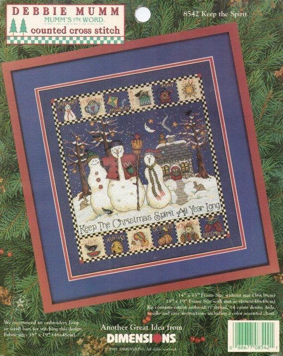 Dimensions 8542 Keep the spirit, вышивка крестом, снеговик, Debbie Mumm