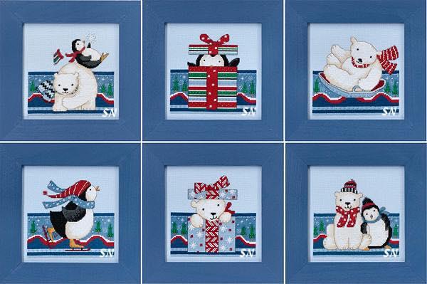 Mill Hill Debbie Mumm Polar Opposites, вышивка крестом, пингвин, белый медведь