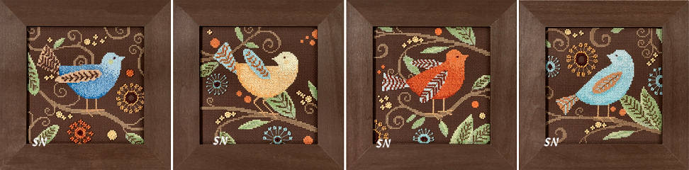 Mill Hill Debbie Mumm, птички на коричневом фоне, вышивка бисером, вышивка крестом
