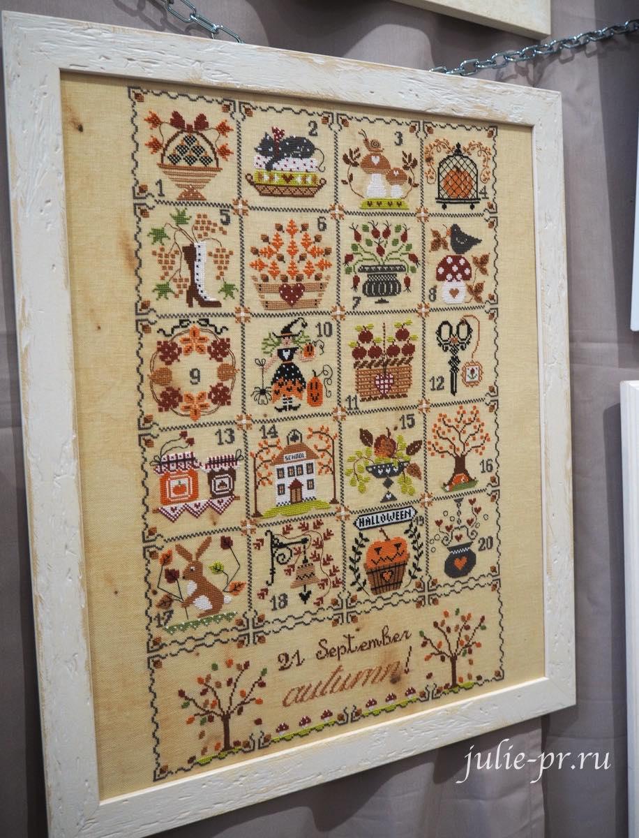Cuore e batticuore, Shabby Autumn Calendar, Осенний шебби календарь, вышивка крестом