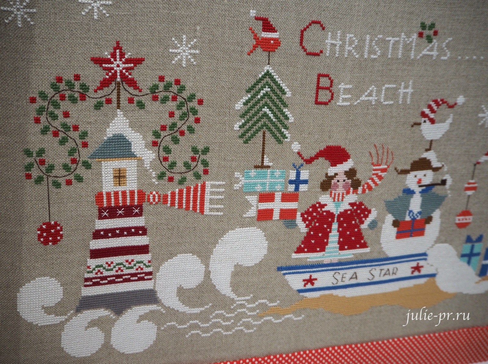 Cuore e batticuore, Christmas on the Beach, Рождество на пляже, вышивка крестом
