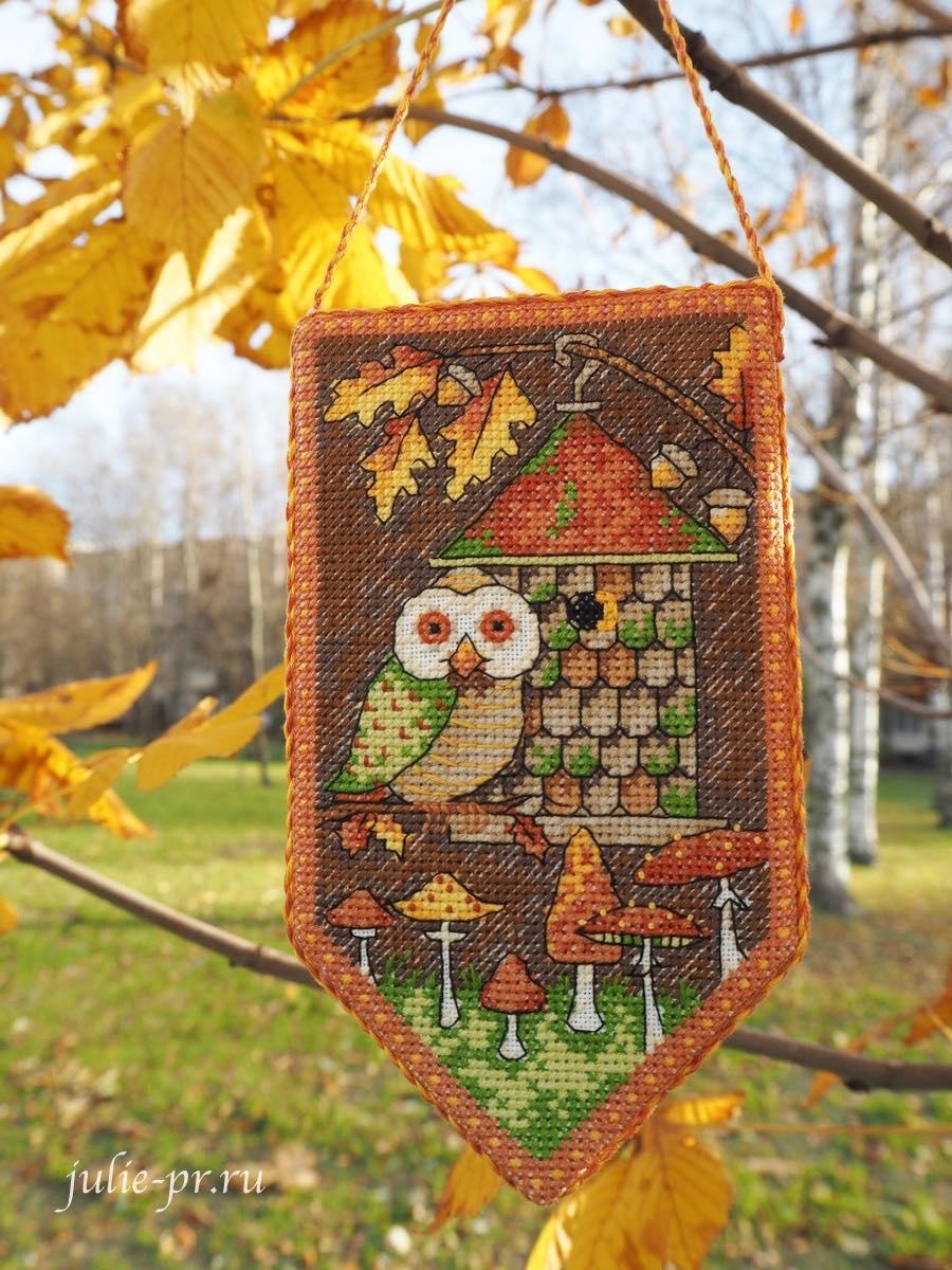 Dimensions 74135, Fall Banner, Осенний баннер, Debbie Mumm, вышивка крестом, сова, осень