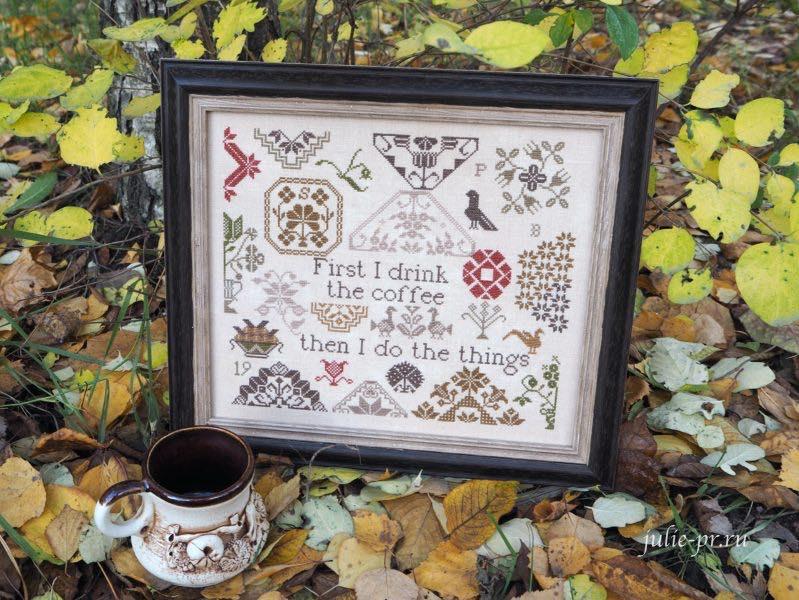 Coffee quaker the Magical Elixir Series №2, Кофейный квакер, Heartstring Samplery, примитив, вышивка крестом, кофе, как оформить вышивку