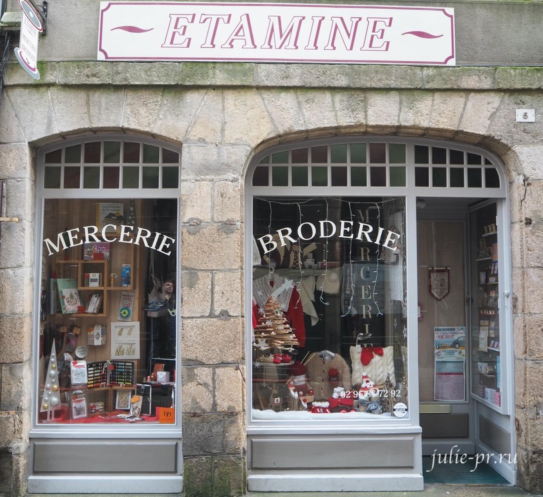 Динан, Бретань, Франция, Магазин рукоделия Etamine, вышивка