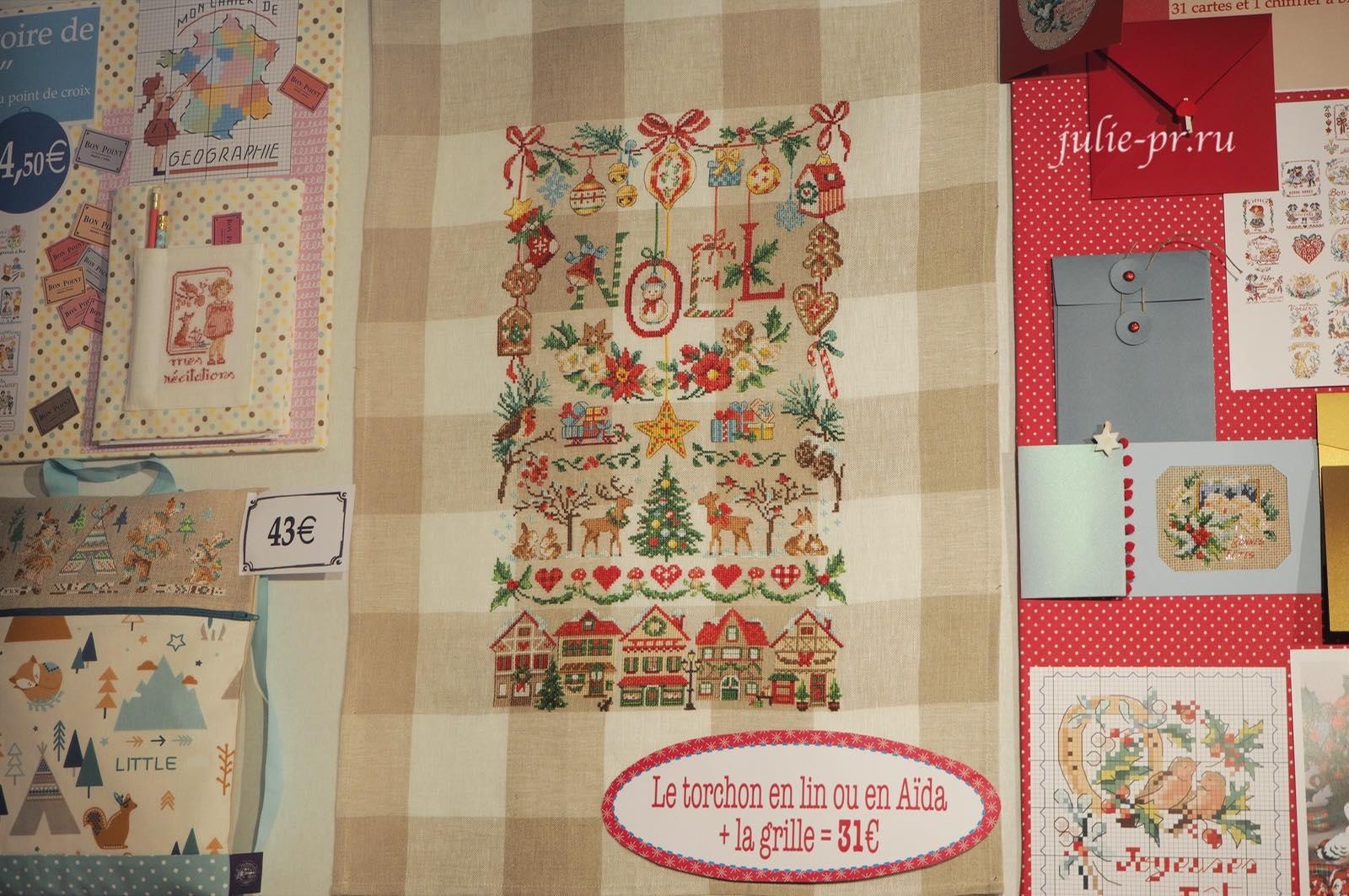 полотенце Imagier de Noel, вышивка крестом, Les brodeuses parisiennes, Veronique Enginger, Парижские вышивальщицы