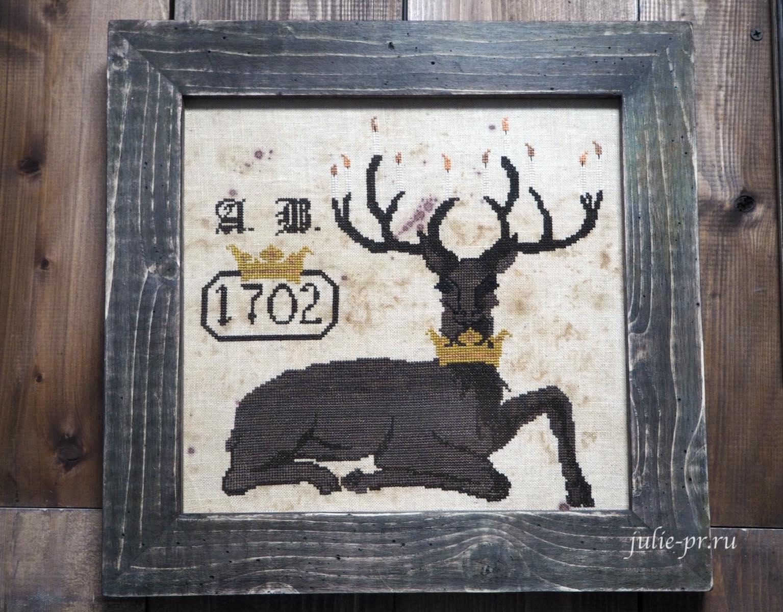 вышивка крестом, примитивы, The primitive hare, The Olde Winter, олень