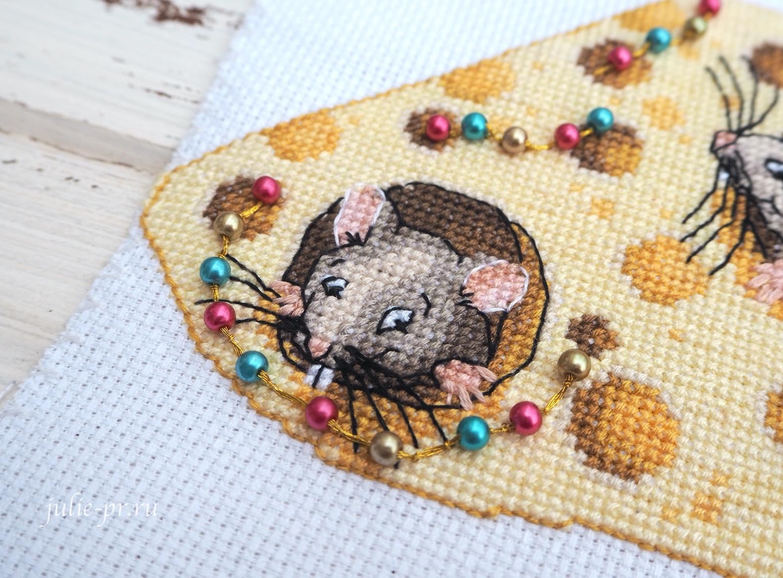 вышивка крестом, панна, Panna IG-7168 Сыр для мышек, елочная игрушка