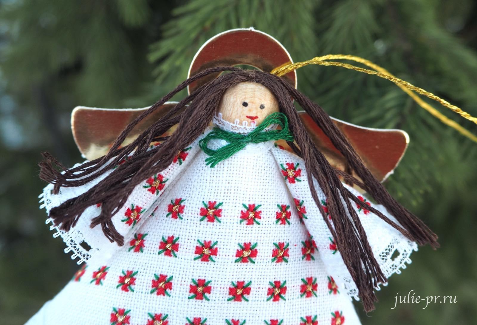 елочная игрушка ангел прищепка, DMC 1460 Floral Angel ornament, вышивка крестом, как собрать