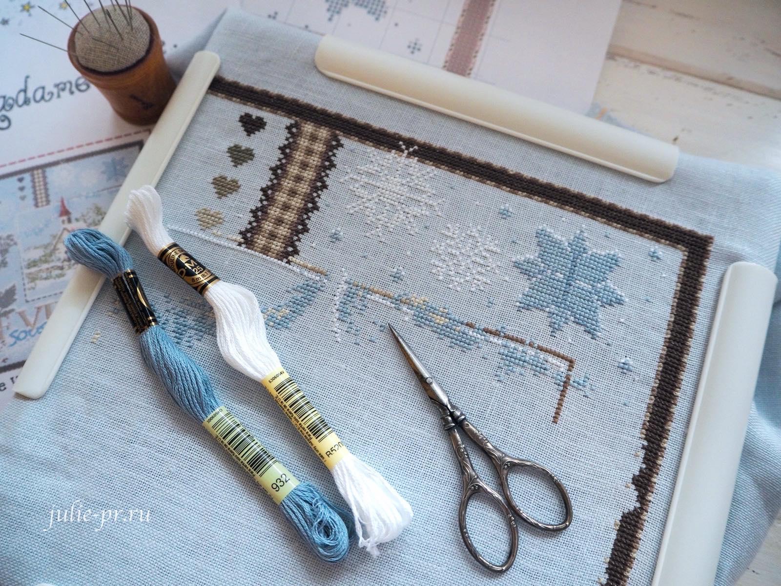 вышивка крестом, Madame la Fee, Le Village sous la Neige, Заснеженная деревня, французская вышивка, процесс вышивки, винтажные ножницы