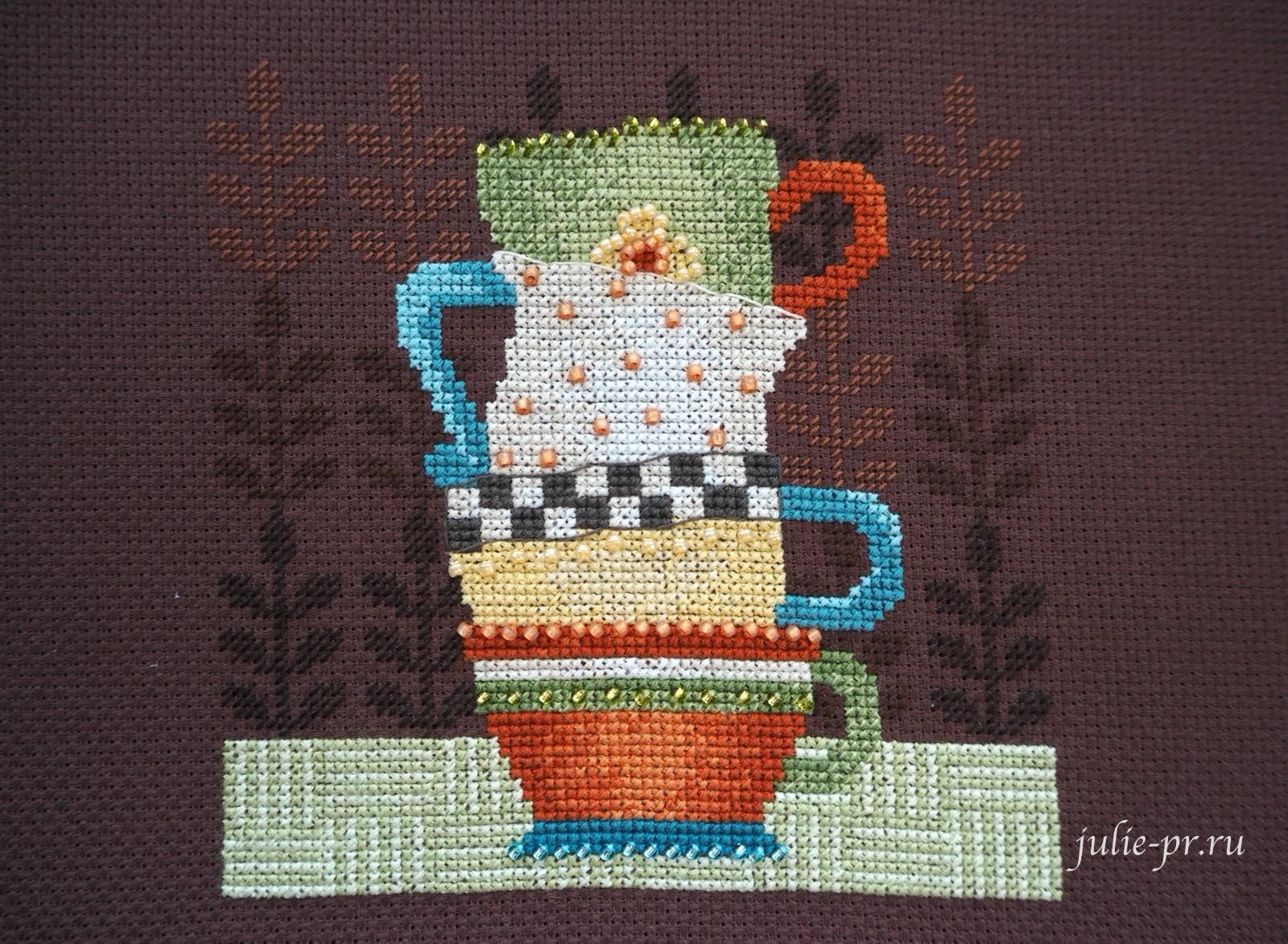 Вышивка крестом, вышивка бисером, Debbie Mumm, Mill Hill DM30-1615 Coffee Cups, Кофейные чашки, кофе