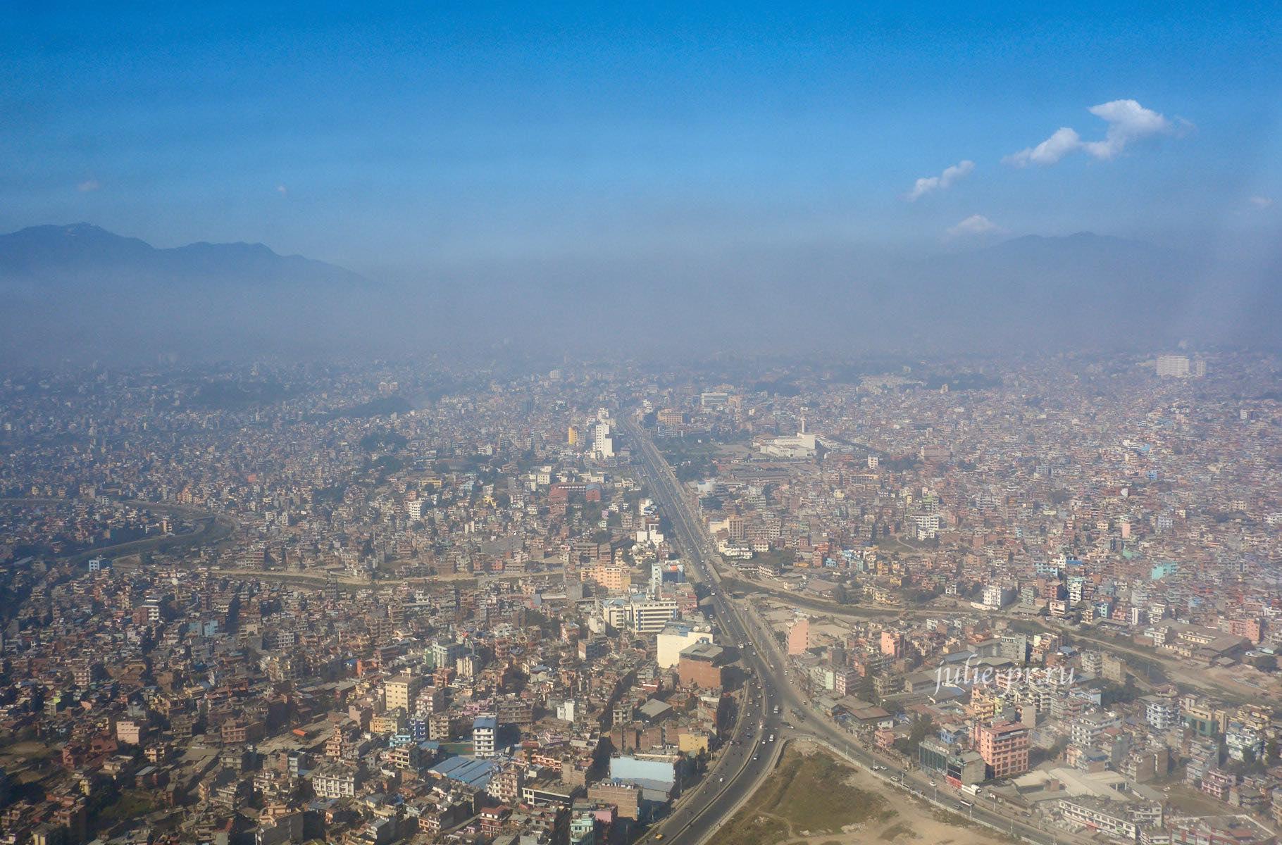 Непал, Катманду вид с самолёта