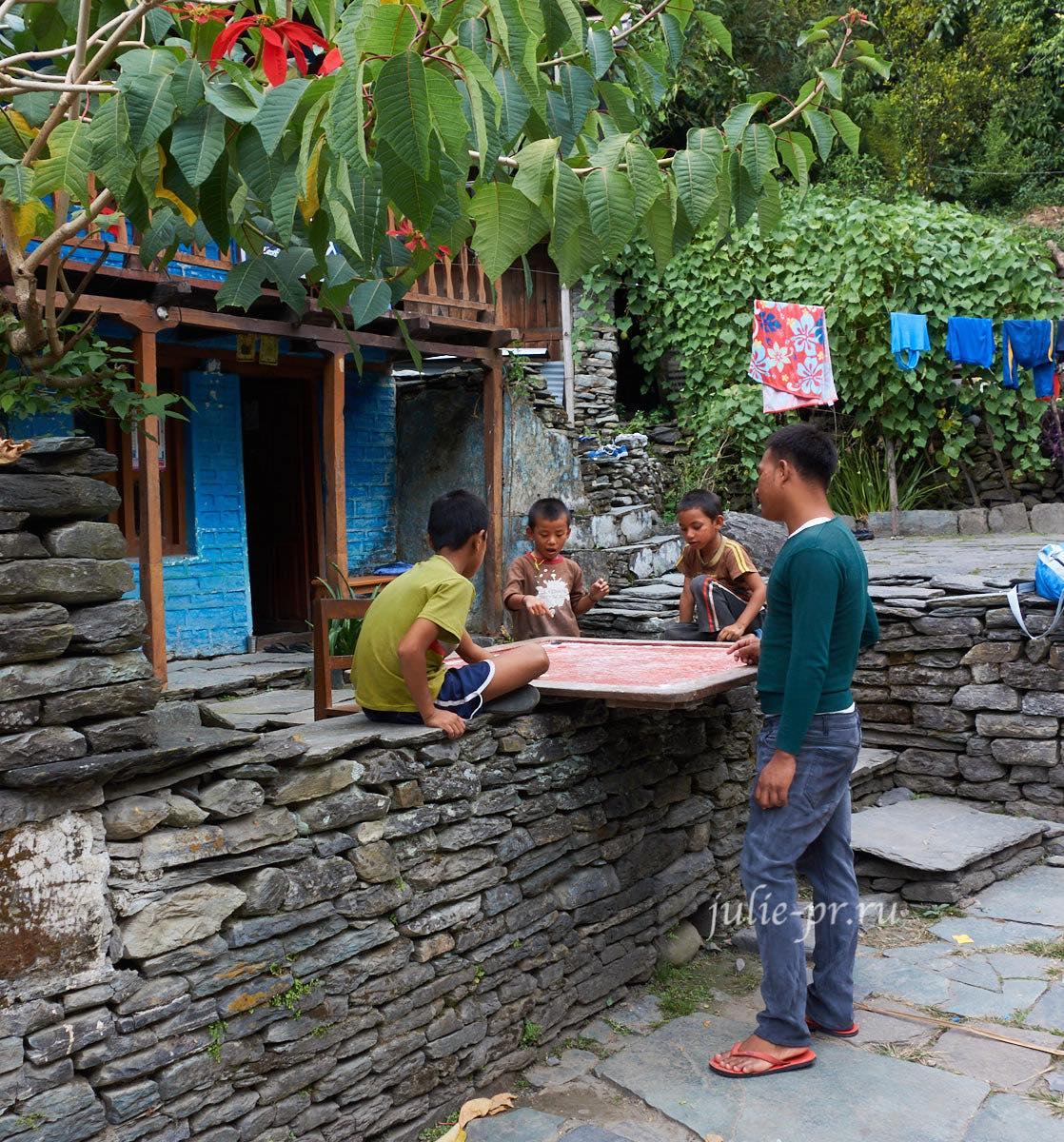 Непал, Пун-Хилл трек, Деревня Биретанти, Игра в карром