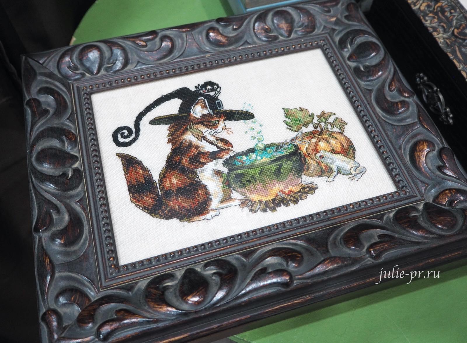 вышивка крестом, Nimue, Charabosse, кот ведьма, шкатулка с вышивкой