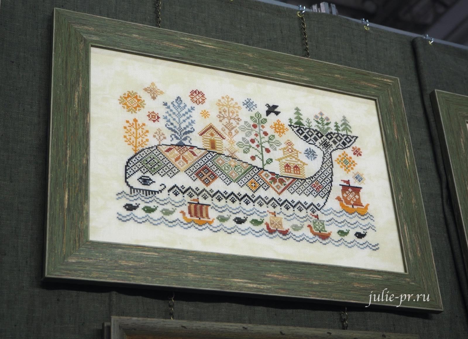 Совиный лес, рыба кит, вышивка крестом, примитив