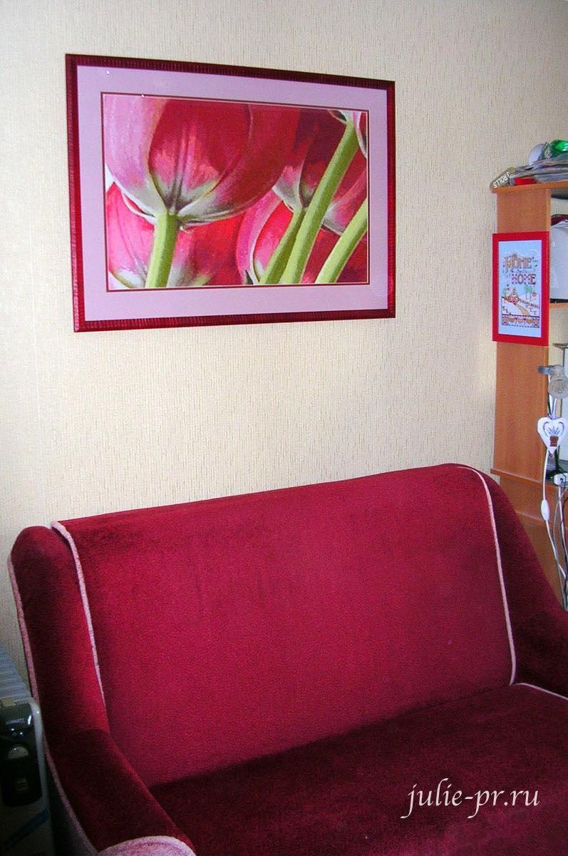 I love crossstitch, 5 tulips, пять тюльпанов, огромные тюльпаны, вышивка крестом, вышивка в интерьере