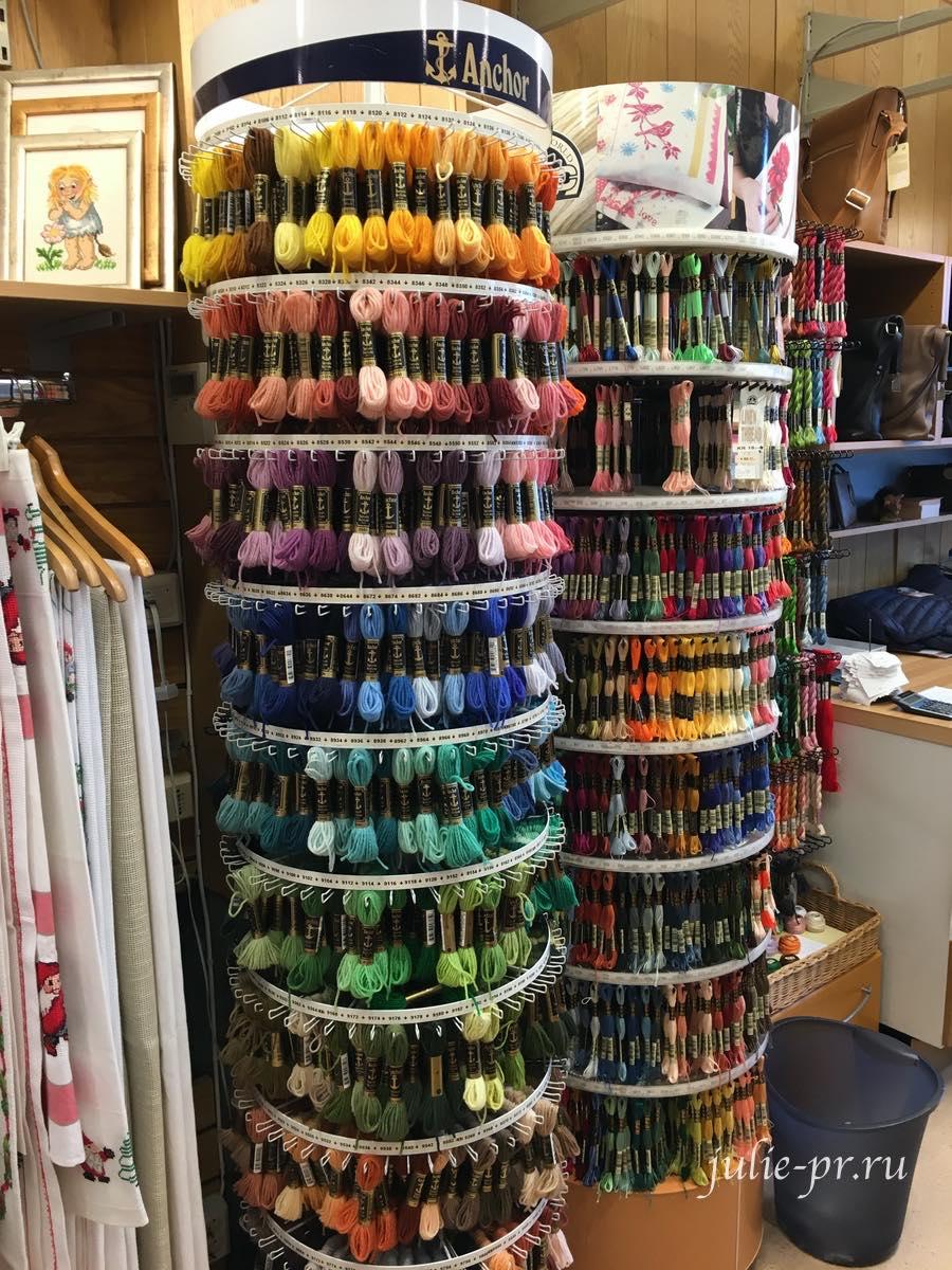 Берген, Норвегия, рукодельный магазин Nilssen, вышивка крестом, мулине DMC, мулине Anchor