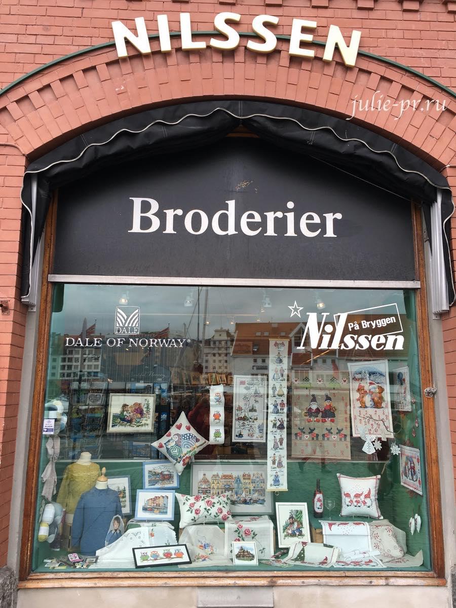 Берген, Норвегия, рукодельный магазин Nilssen, вышивка крестом, Permin
