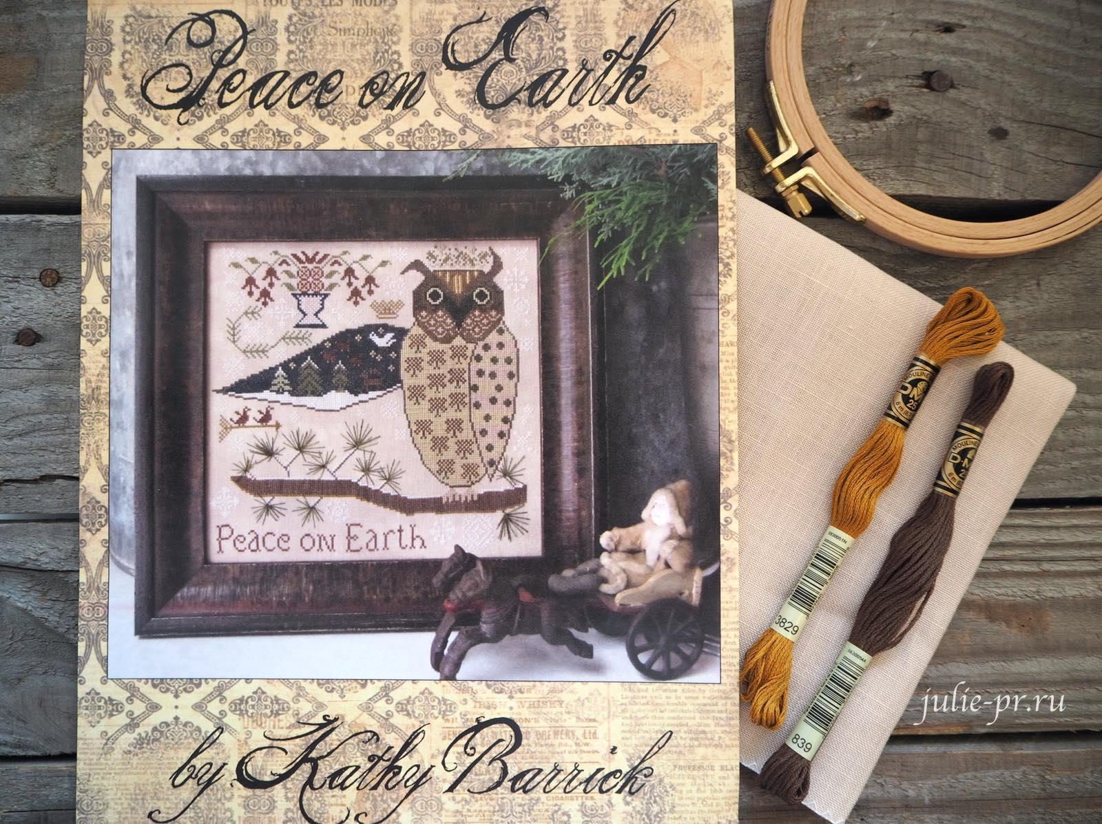 Peace on Earth, Мир на земле, Kathy Barrick, Кэти Бэррик, вышивка крестом, примитив