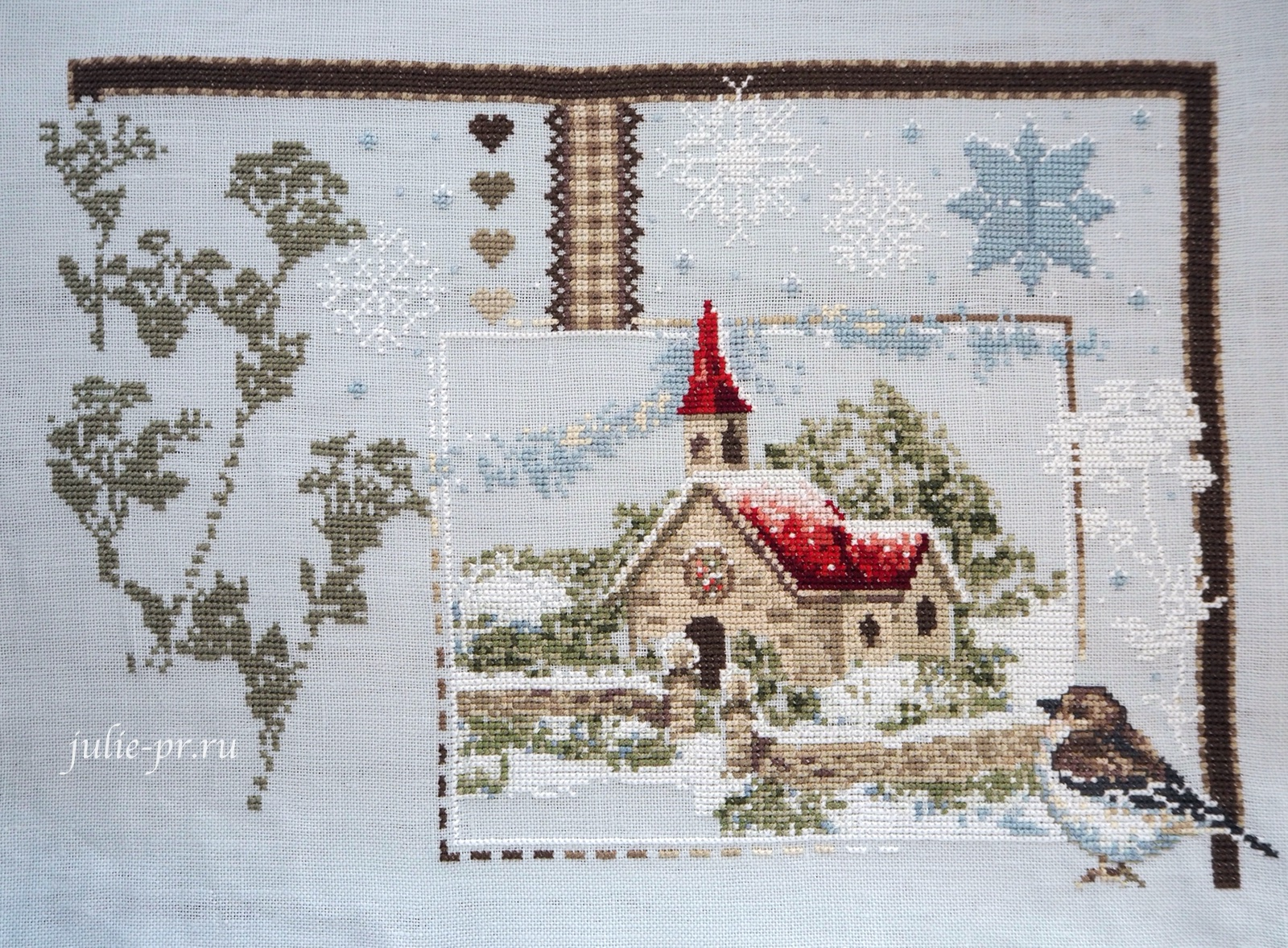 вышивка крестом, Madame la Fee, Le Village sous la Neige, Заснеженная деревня, французская вышивка, процесс вышивки