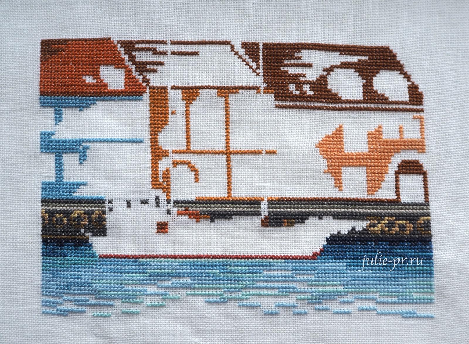 вышивка крестом, Permin 92-1168, Black schooner, Черная шхуна, Копенгаген, кораблик