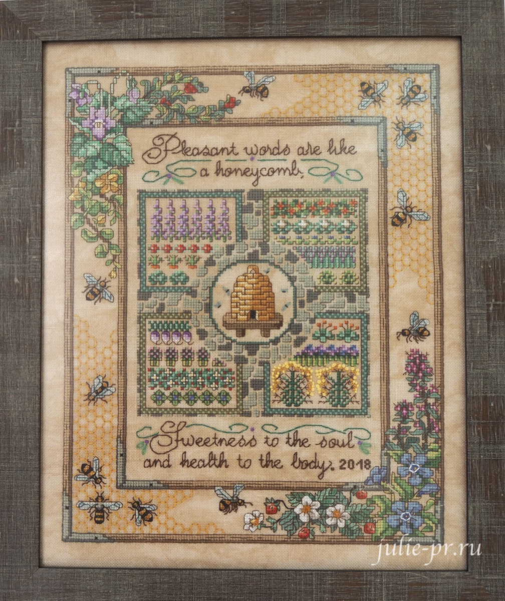 Sandy Orton, Gathering honey, Сбор мёда, медовый семплер, Cross Stitch & Country Crafts, вышивка крестом