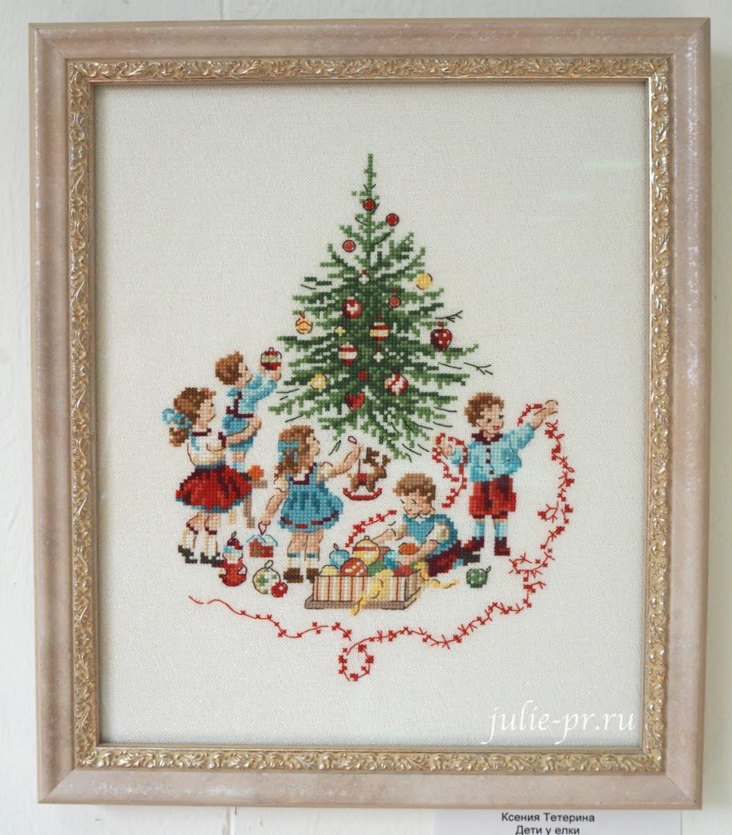 Veronique Enginger, елка, дети, вышивка крестом, La magie de Noel