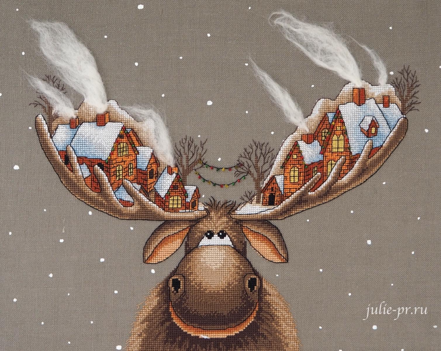Panna, Рождественский лось, вышивка крестом, панна