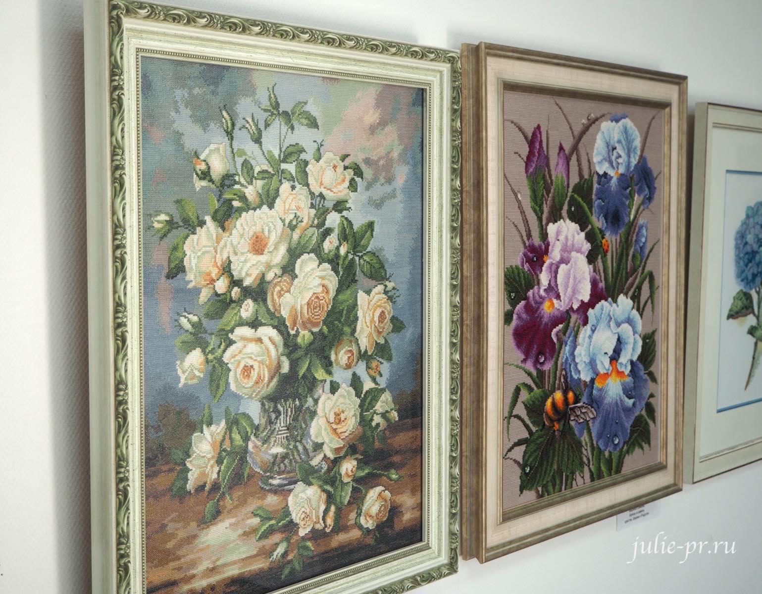 Вышивка крестом, ирисы, розы, цветы