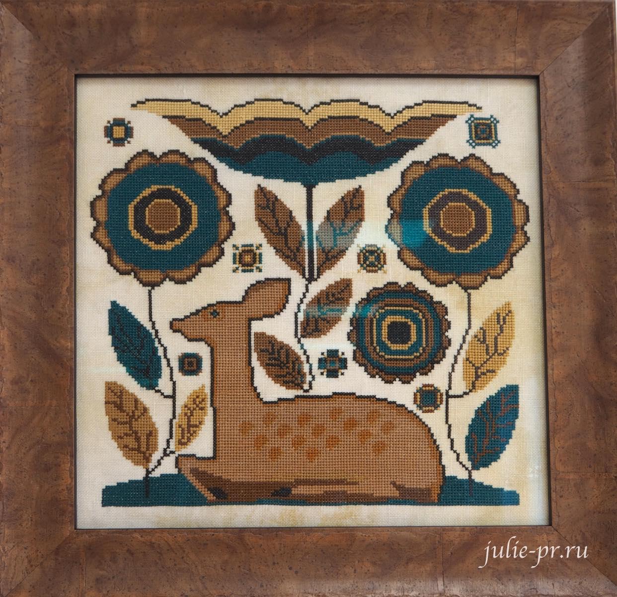 вышивка крестом, примитив, Kathy Barrick, Deer Heart