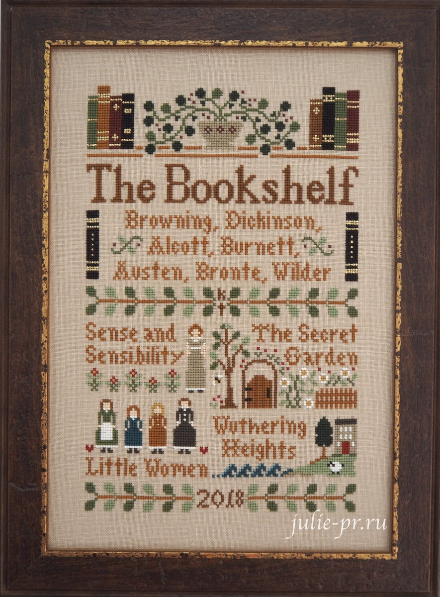 вышивка крестом, примитив, Little House Needleworks, The bookshelf, книжный шкаф, книжная полка, книги