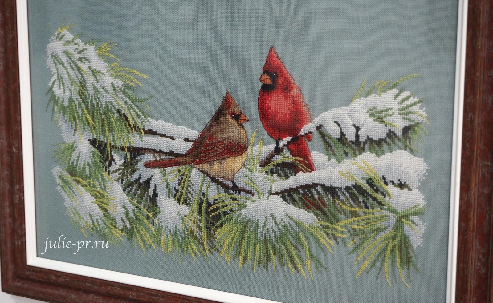 Dimensions 35178, Winter Cardinals, / Зимние кардиналы, вышивка крестом