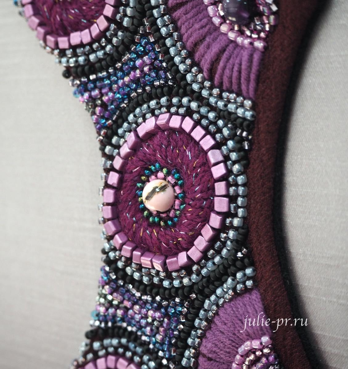 Вышивка бисером и агатом, бижутерия с вышивкой