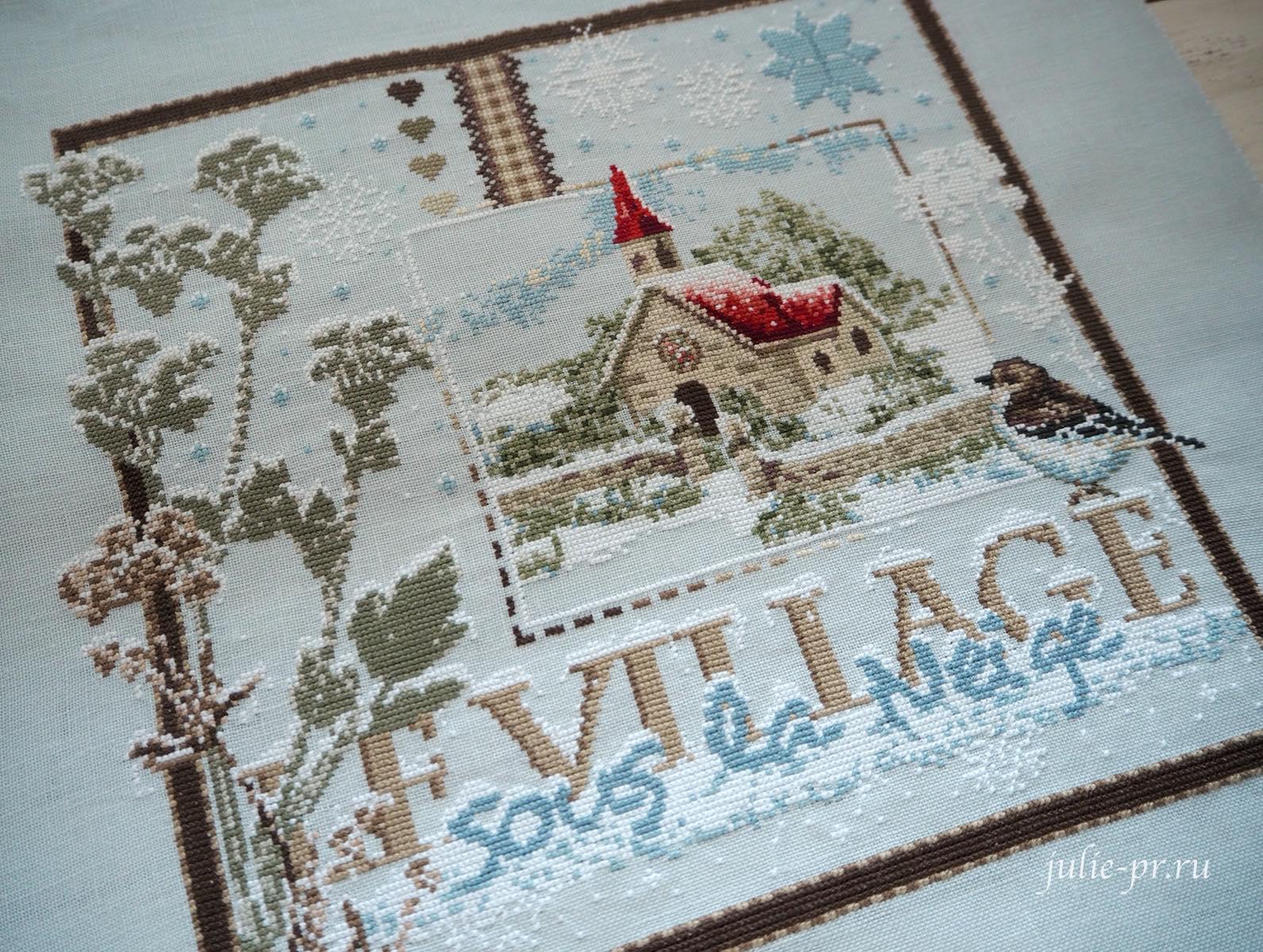 вышивка крестом, Madame la Fee, Le Village sous la Neige, Заснеженная деревня, французская вышивка