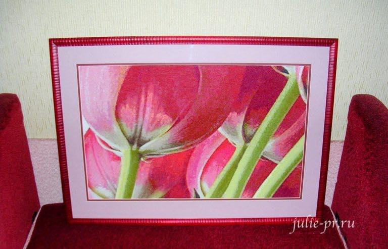 Оформила тюльпаны!