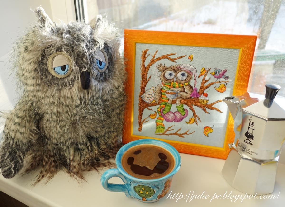 вышивка крестом, Марья Искусница, 07.002.08, сова, кофе, утренний кофе