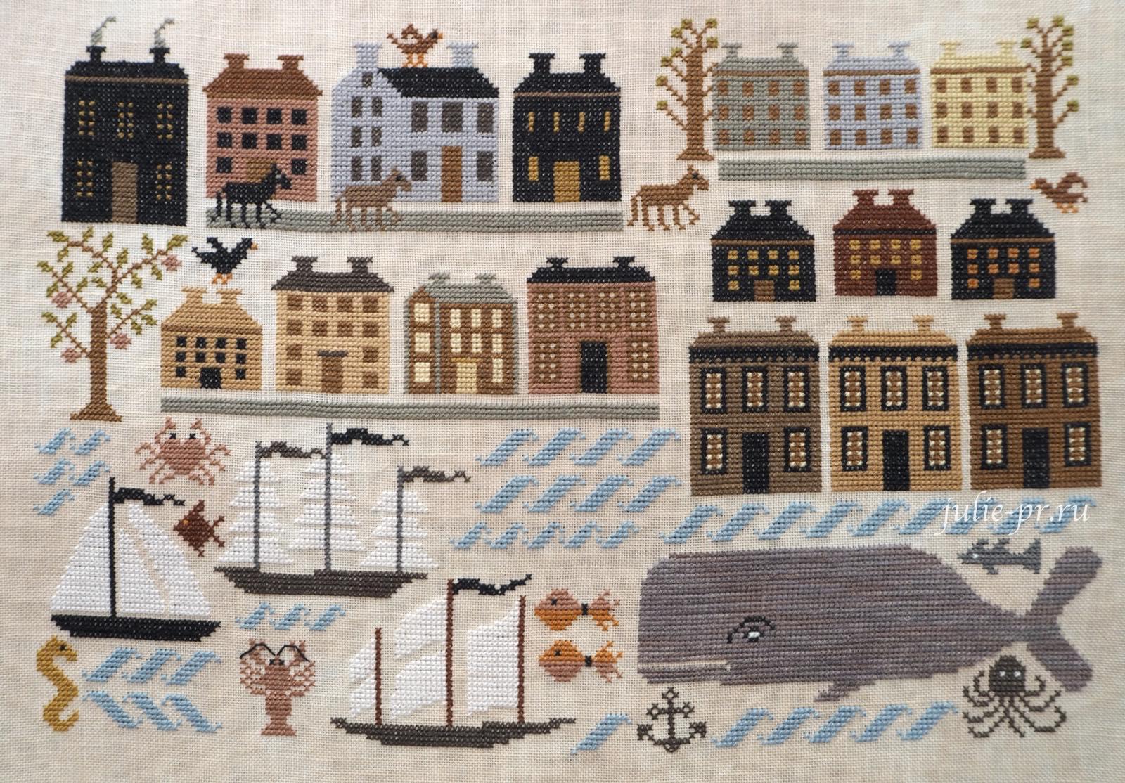Kathy Barrick, Riley Harbor, гавань райли, вышивка крестом, примитив, кашалот, кит