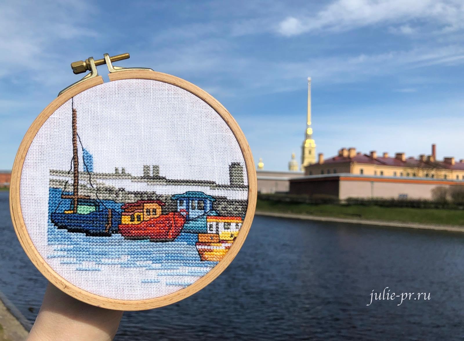 Permin 92-1169 Boats, лодки, Корабли, Берген, вышивка крестом, город, Норвегия