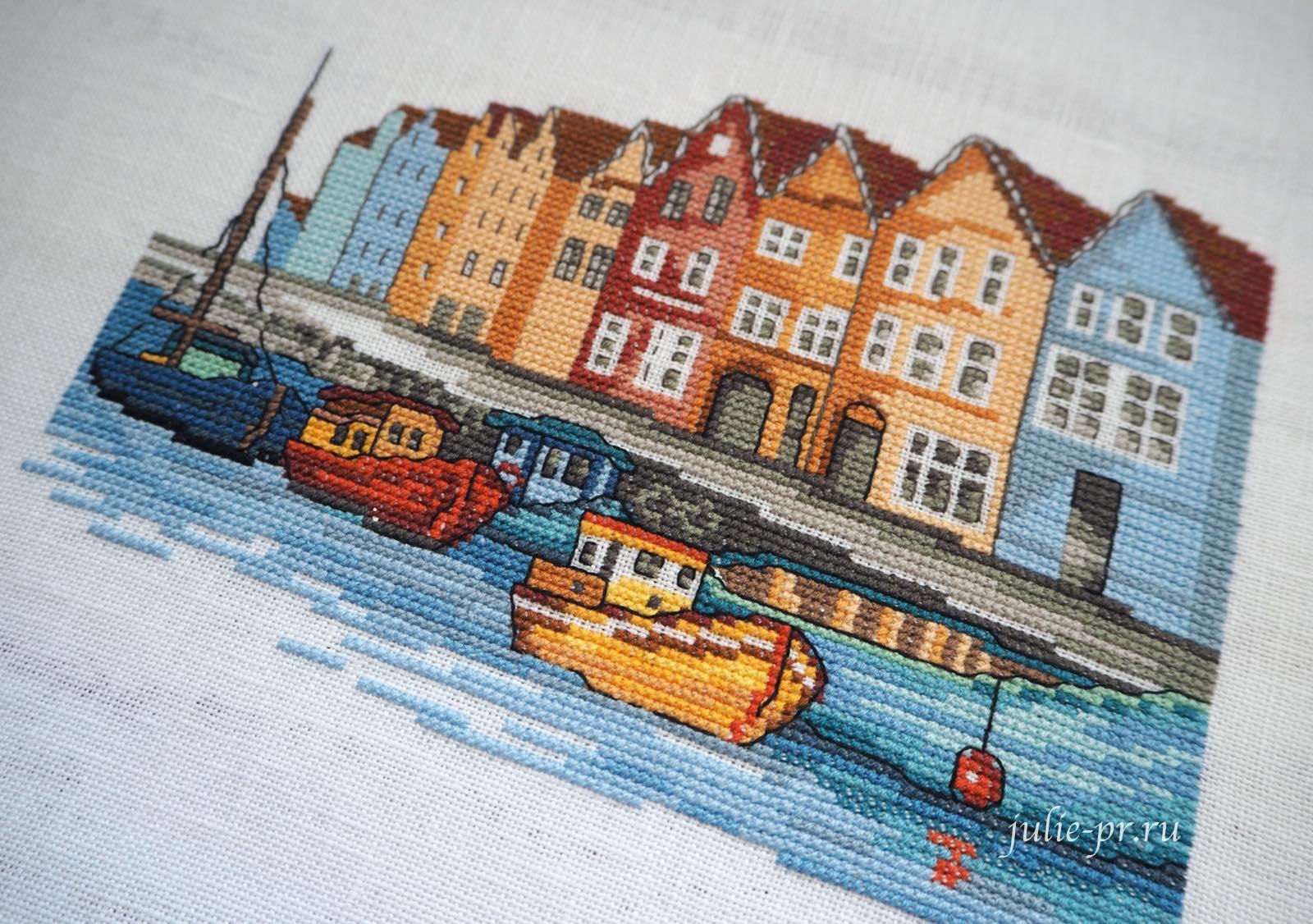 Permin 92-1169 Boats, Корабли, Берген, вышивка крестом, город, Норвегия