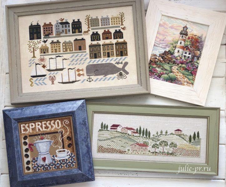 вышивка крестом, примитив, mill hill, кофе, эспрессо, Dimensions, маяк, кит, кашалот, Kathy Barrick, оформление вышивки в багет