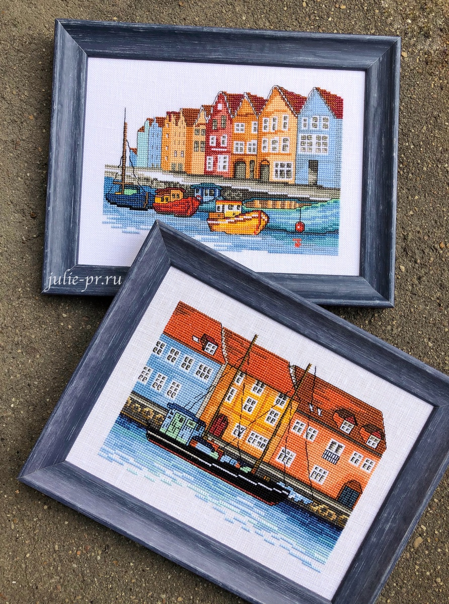 Permin 92-1169, Boats, Лодки, Берген, Permin 92-1168, Black schooner, Черная шхуна, Копенгаген, вышивка крестом