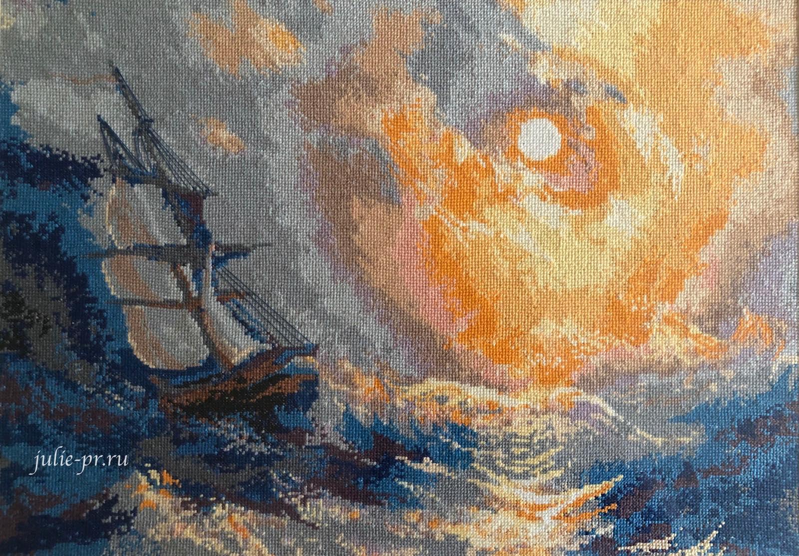 Риолис №350, Парусник, Корабль море, вышивка крестом, сотвори сама