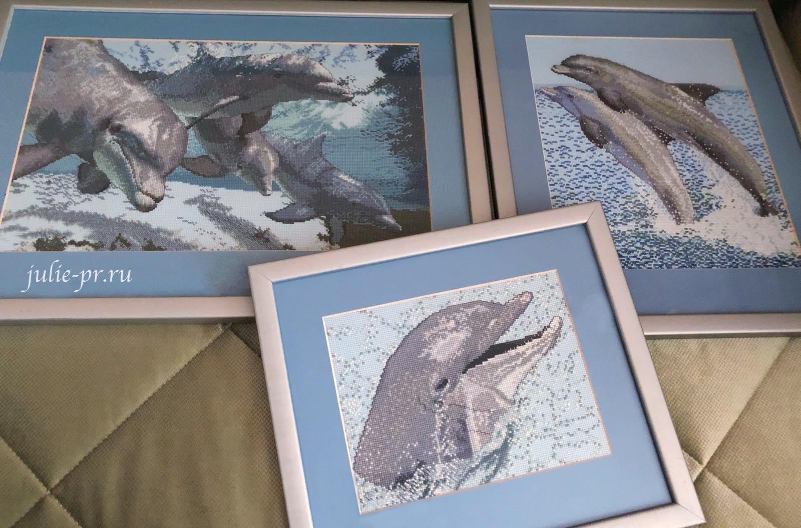 Дельфины, вышивка крестом, журнал, Чудесные мгновения, выпуск 7, морская тема