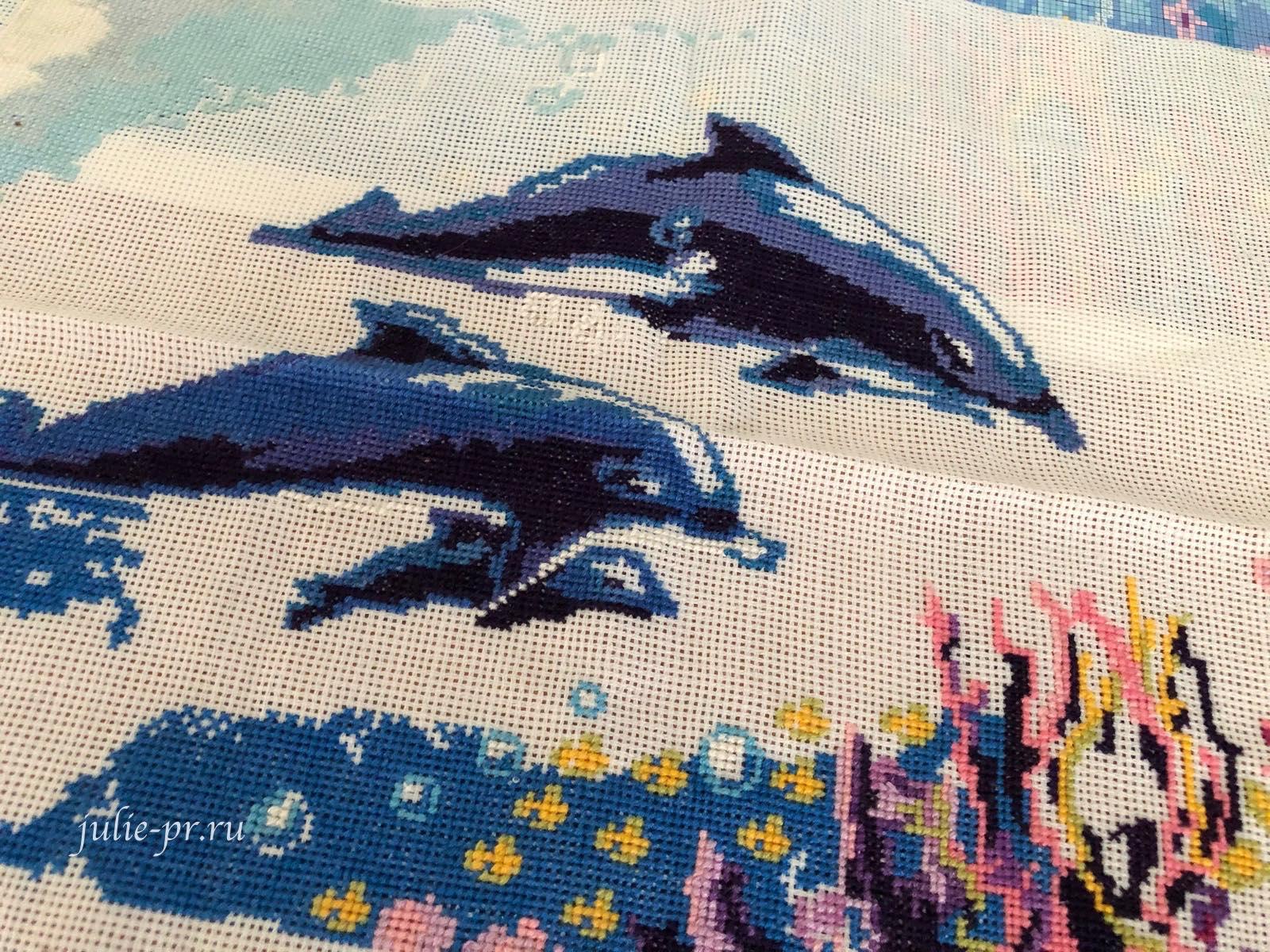 Дельфины, Схема Социальное действие, вышивка крестом, белорусская могилевская канва аида, не покупайте
