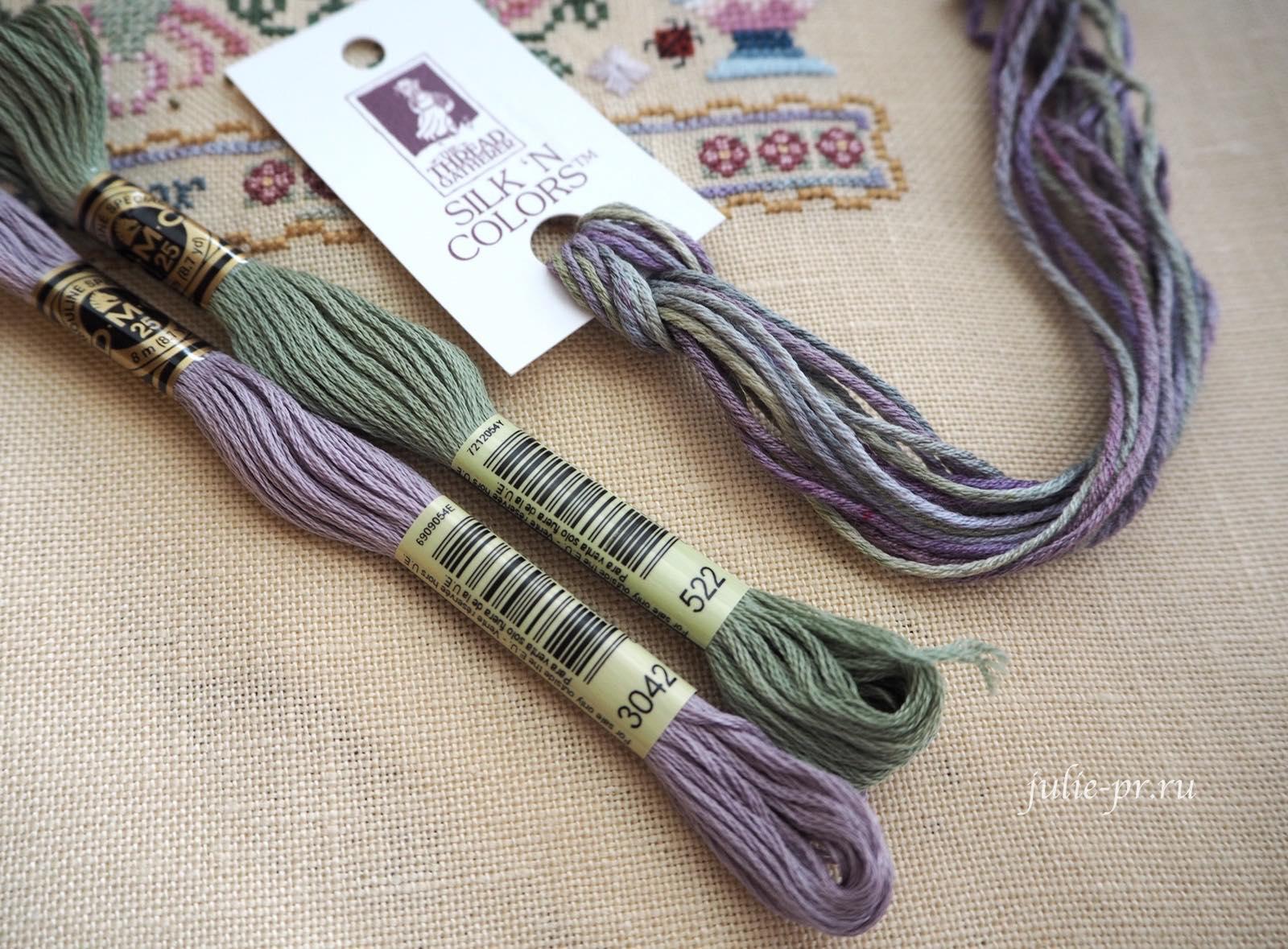 шелк ручного окрашивания Silk'n colors от The Thread Gatherer, Wild Violets (номер SNC 112), Silkwood Manor Just Nan, вышивка крестом