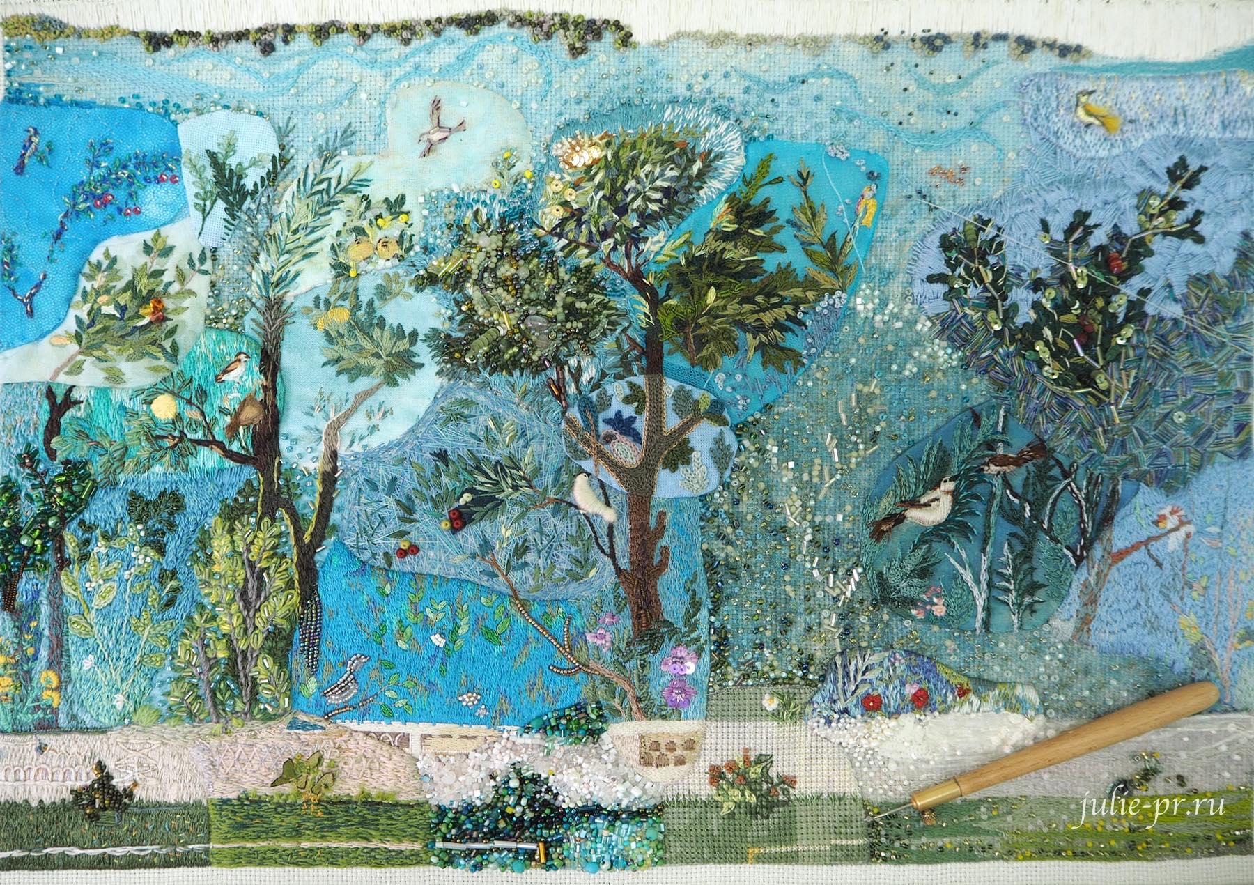 Сад Ливии, фреска, Катерина Мороз, кутюрная вышивка, совместный проект, вышивка бисером, вышивка гладью