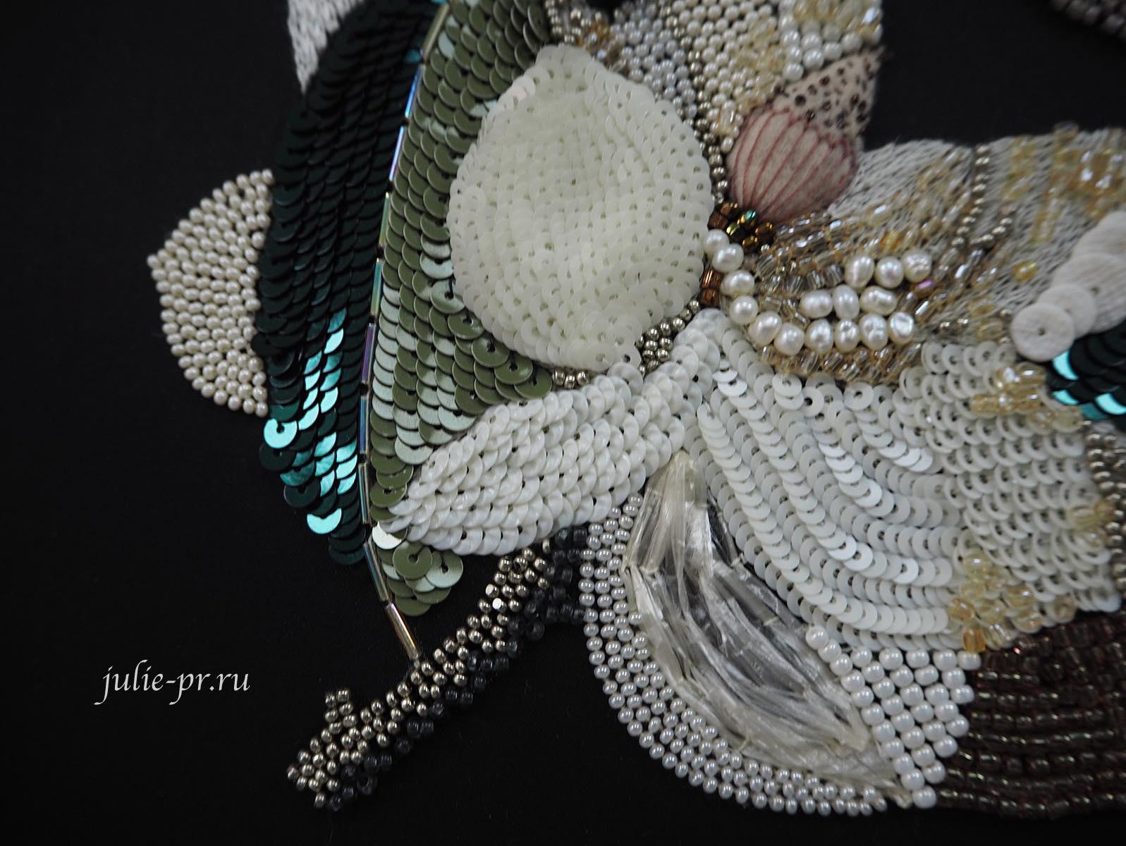 магнолия, Катерина Мороз, кутюрная вышивка, вышивка пайетками, вышивка люневильским крючком